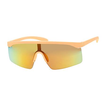 1980s Clothing, Fashion | 80s Style Clothes Arizona Neon Orange Shield Womens Sunglasses $9.00 AT vintagedancer.com