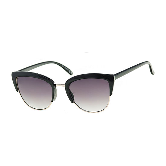 Arizona Black Semi Rimless Cateye Womens Sunglasses