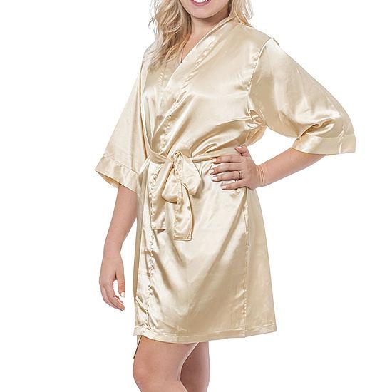 Cathy's Concepts Womens Satin Kimono 3/4 Sleeve Short Length Robes