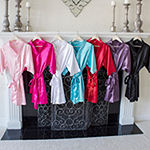 Cathy's Concepts Personalized Satin Womens Satin Kimono Robes 3/4 Sleeve Short Length