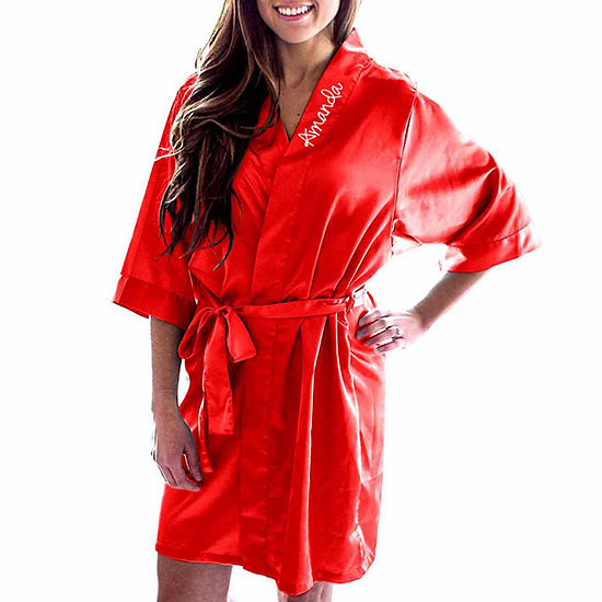 Cathy's Concepts Personalized Womens Satin Kimono 3/4 Sleeve Short Length Robes