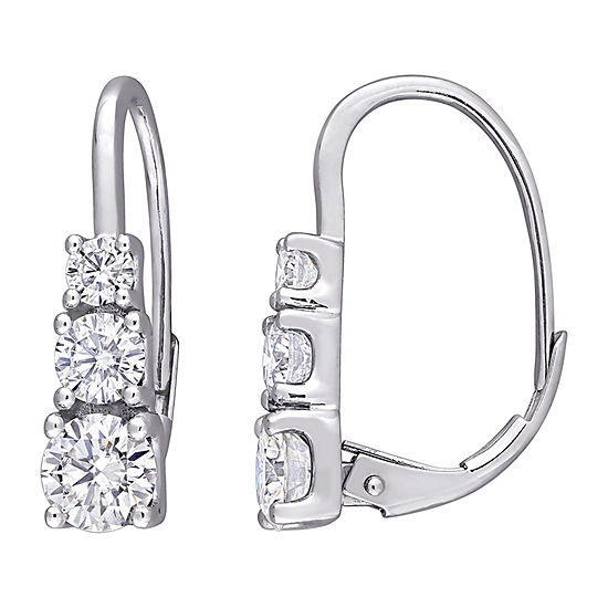 1 5/8 CT. T.W. Lab Created White Moissanite 10K White Gold Drop Earrings