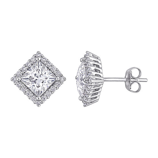 2 3/4 CT. T.W. Lab Created White Moissanite 10K White Gold Square Ear Pins