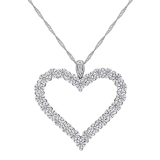 Womens 2 1/3 CT. T.W. Lab Created White Moissanite 10K White Gold Heart Pendant Necklace