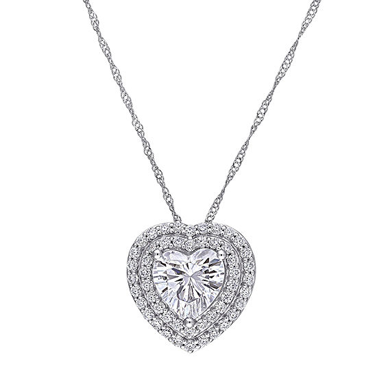 Womens 2 1/2 CT. T.W. Lab Created White Moissanite 10K White Gold Heart Pendant Necklace