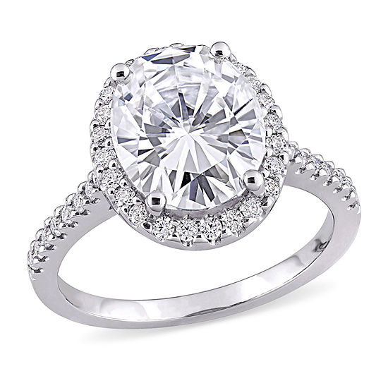 Womens 5 1/4 CT. T.W. Lab Created White Moissanite 10K White Gold Engagement Ring