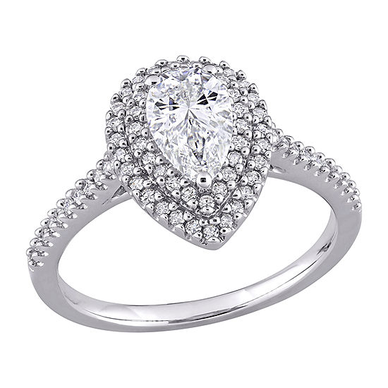 Womens 1 1/3 CT. T.W. Lab Created White Moissanite 14K White Gold Engagement Ring