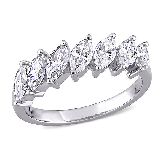Womens 2.5MM 3 1/2 CT. T.W. Lab Created White Moissanite 10K White Gold Band
