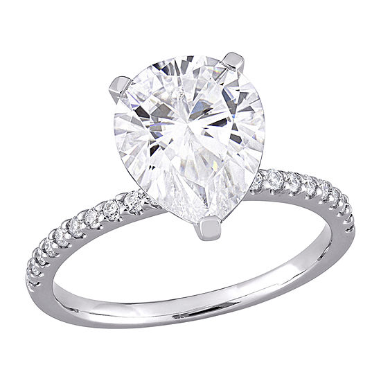 Womens 4 1/4 CT. T.W. Lab Created White Moissanite 10K White Gold Engagement Ring