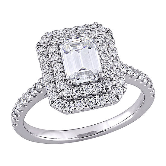 Womens 1 5/8 CT. T.W. Lab Created White Moissanite 10K White Gold Engagement Ring