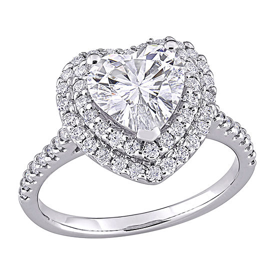Womens 2 1/2 CT. T.W. Lab Created White Moissanite 10K White Gold Heart Engagement Ring