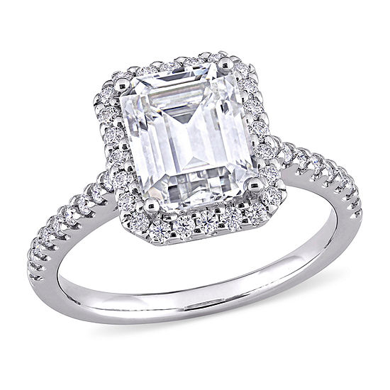 Womens 3 1/4 CT. T.W. Lab Created White Moissanite 10K White Gold Engagement Ring