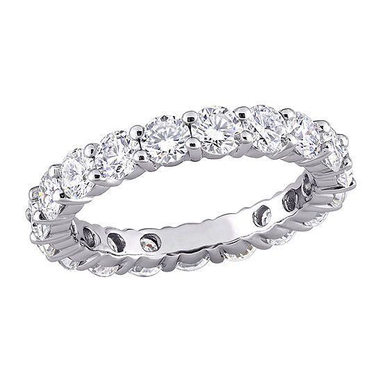 Womens 3MM 3 CT. T.W. Lab Created White Moissanite 10K White Gold Eternity Band