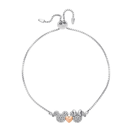 Disney Lab Created White Cubic Zirconia Sterling Silver Mickey Mouse Bolo Bracelet