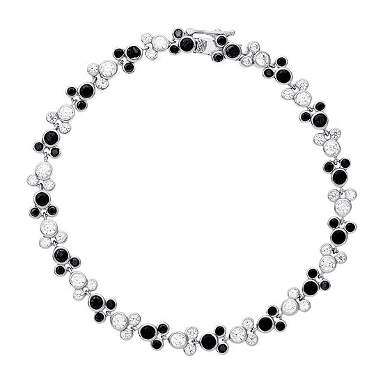 Disney Lab Created White Cubic Zirconia Sterling Silver Mickey Mouse 7.5 Inch Tennis Bracelet