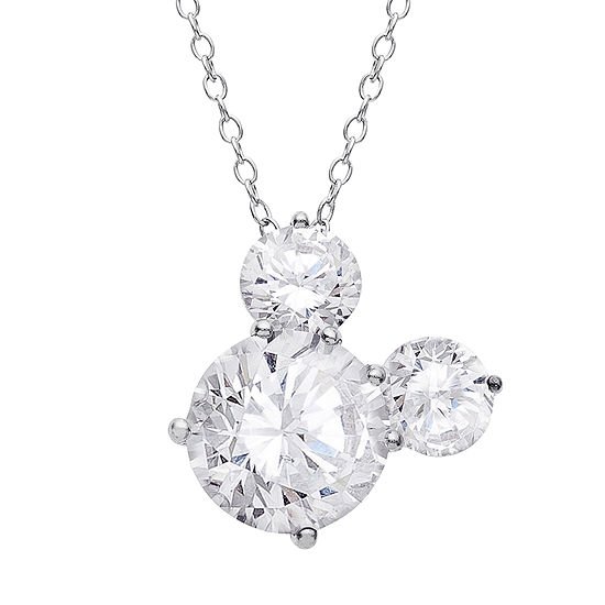 Disney Girls Lab Created White Cubic Zirconia Sterling Silver Pendant Necklace