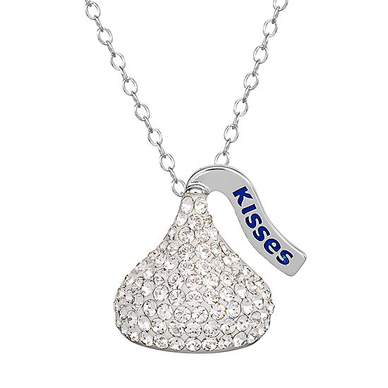 Hershey's Kiss Girls Lab Created White Crystal Sterling Silver Pendant Necklace