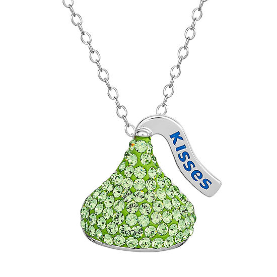 Hershey's Kiss Girls Lab Created Green Crystal Sterling Silver Pendant Necklace