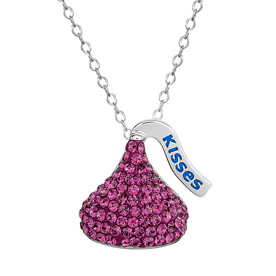 Hershey'S Kiss Girls Lab Created Purple Crystal Sterling Silver Pendant Necklace