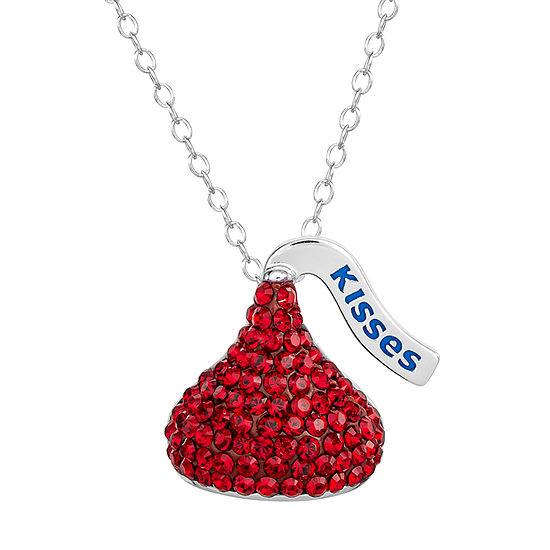 Hershey's Kiss Girls Lab Created Red Crystal Sterling Silver Pendant Necklace