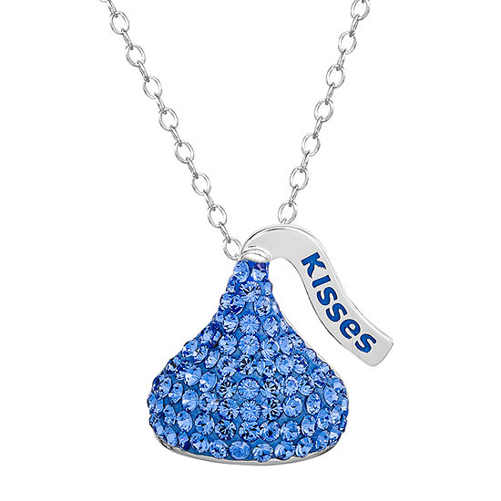 Hershey'S Kiss Girls Lab Created Blue Crystal Sterling Silver Pendant Necklace
