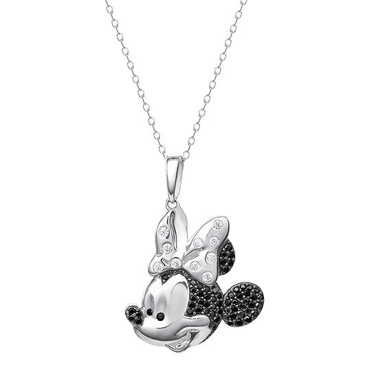 Disney Girls Lab Created White Cubic Zirconia Sterling Silver Minnie Mouse Pendant Necklace