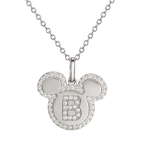 Girls Lab Created White Cubic Zirconia Sterling Silver Mickey Mouse Pendant Necklace
