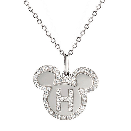Disney Girls Lab Created White Cubic Zirconia Sterling Silver Mickey Mouse Pendant Necklace