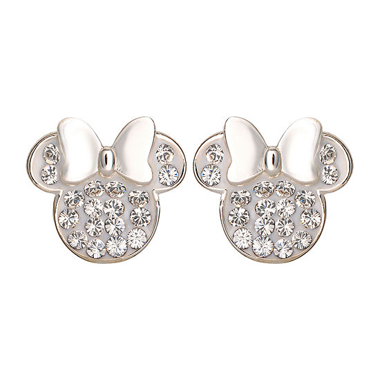 Disney Lab Created White Crystal Sterling Silver 11.2mm Minnie Mouse Stud Earrings