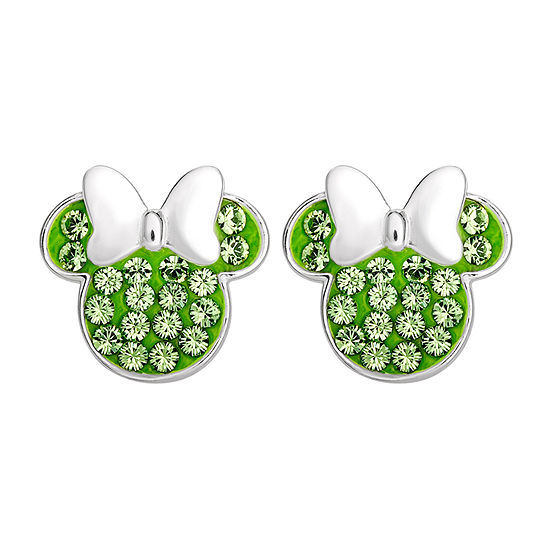 Lab Created Green Crystal Sterling Silver 11.2mm Minnie Mouse Stud Earrings