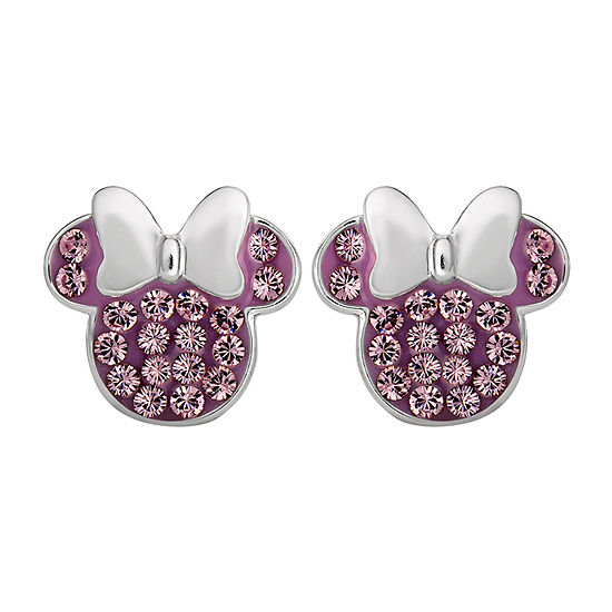 Disney Lab Created Purple Crystal Sterling Silver 11.2mm Minnie Mouse Stud Earrings