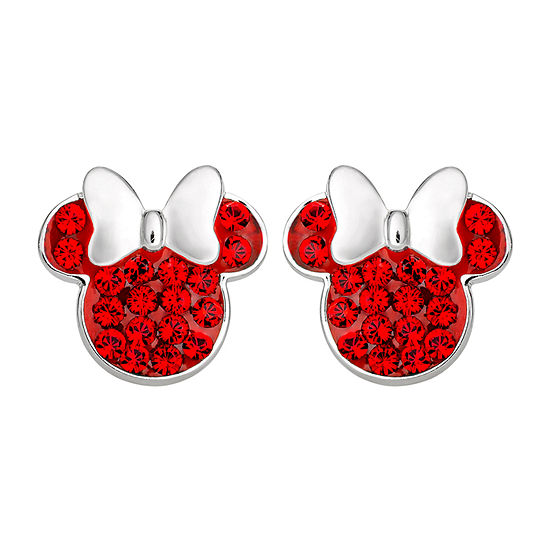 Disney Lab Created Pink Crystal Sterling Silver 11.2mm Minnie Mouse Stud Earrings