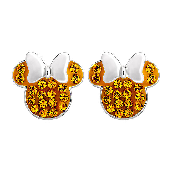 Disney Lab Created Orange Crystal Sterling Silver 11.2mm Minnie Mouse Stud Earrings
