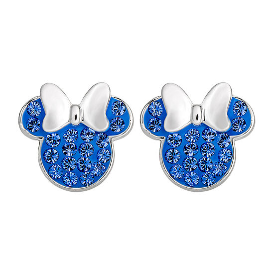 Disney Lab Created Blue Crystal Sterling Silver 11.2mm Minnie Mouse Stud Earrings