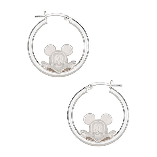 Disney Sterling Silver 27.5mm Minnie Mouse Hoop Earrings