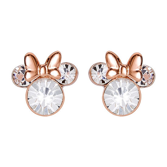 Disney Lab Created White Crystal Sterling Silver 9.4mm Minnie Mouse Stud Earrings