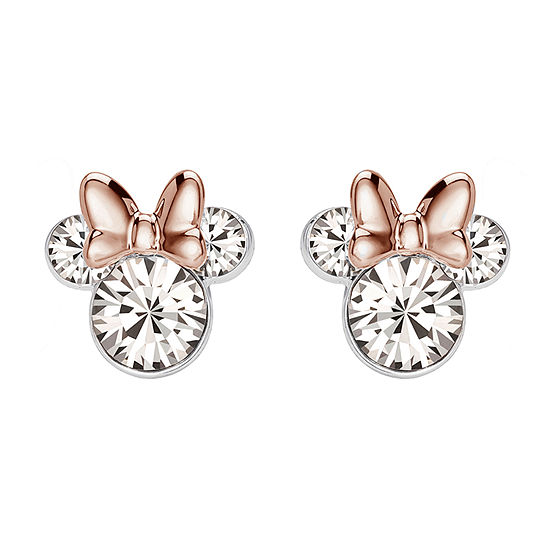 Lab Created White Crystal Sterling Silver 9.4mm Minnie Mouse Stud Earrings