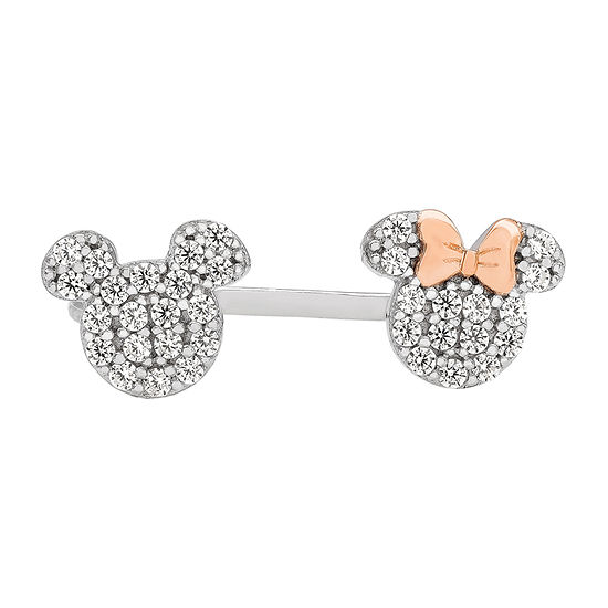 Disney Girls Lab Created White Cubic Zirconia Sterling Silver Mickey Mouse Delicate Stackable Ring