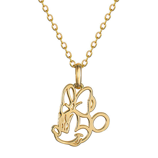 Girls 14K Gold Minnie Mouse Pendant Necklace