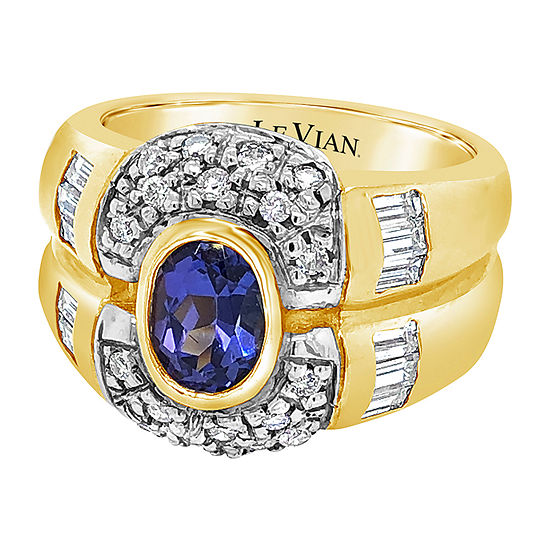 Le Vian Grand Sample Sale™ Ring featuring Blueberry Tanzanite® Vanilla Diamonds® set in 14K Honey Gold™