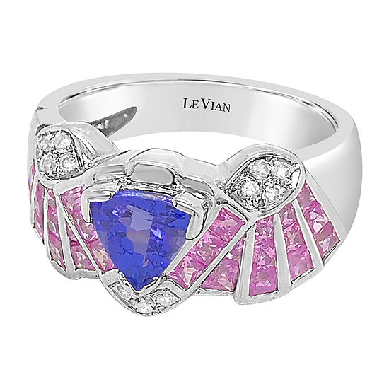 Le Vian Grand Sample Sale™ Ring featuring Blueberry Tanzanite® Bubble Gum Pink Sapphire™ Vanilla Diamonds® set in 18K Vanilla Gold®