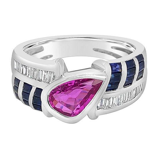 LIMITED QUANTITIES! Le Vian Grand Sample Sale™ Ring featuring Bubble Gum Pink Sapphire™ Blueberry Sapphire™ Vanilla Diamonds® set in 18K Vanilla Gold®