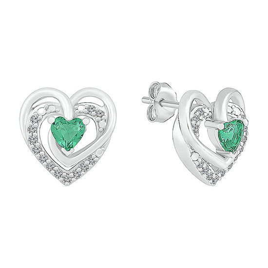 Lab Created Green Emerald Sterling Silver 12mm Heart Stud Earrings