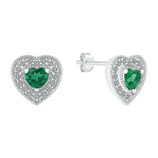 Lab Created Green Emerald Sterling Silver 9.5mm Heart Stud Earrings