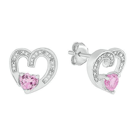 Diamond Accent Lab Created Pink Sapphire Sterling Silver 11mm Heart Stud Earrings