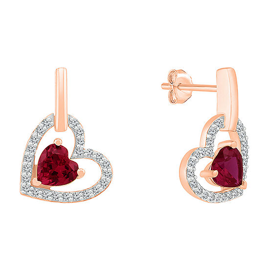 Lab Created Red Ruby 10K Gold Heart Drop Earrings