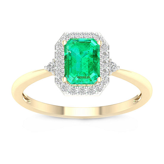 Womens 1/6 CT. T.W. Lab Created Green Emerald 10K Gold Engagement Ring