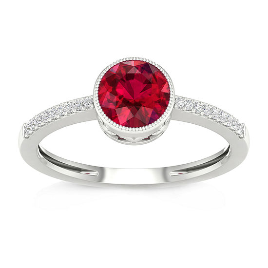 Womens Diamond Accent Lead Glass-Filled Red Ruby 10K Gold Cocktail Ring