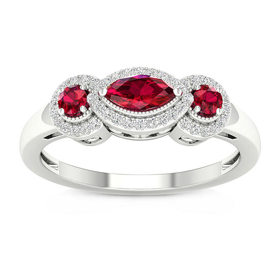 Womens 1/8 CT. T.W. Lead Glass-Filled Red Ruby 10K Gold Cocktail Ring