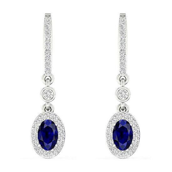1/6 CT. T.W. Genuine Blue Sapphire 10K Gold Drop Earrings